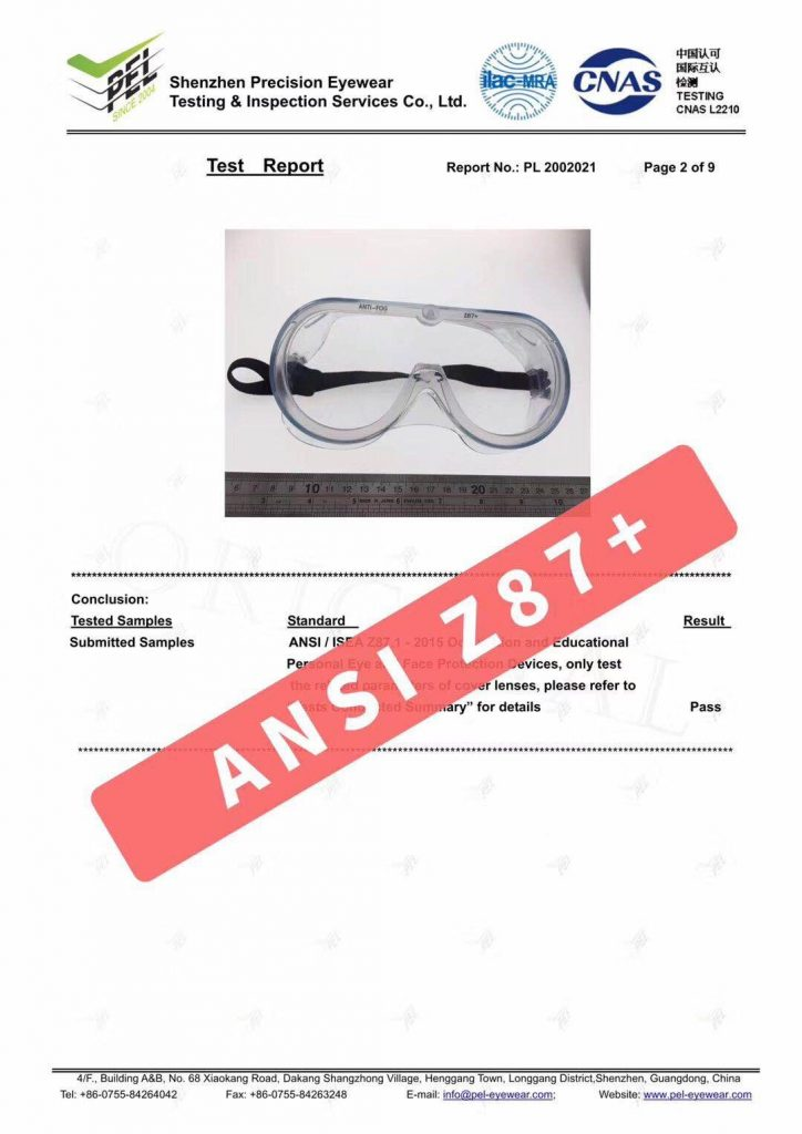 goggles test report